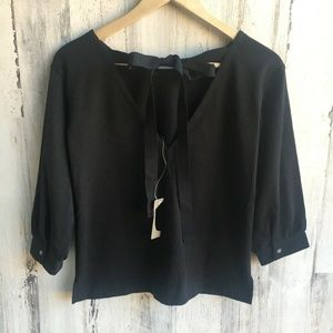 J.CREW  Black Jersey Knit Bow-Back Boxy Top